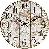Perla PD Design - Orologio da parete/da cucina, modello vintage, Ø 28 cm circa, Legno, Carta geografica