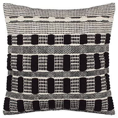 Rivet Modern 100% Cotton Tufted Contrast Decorative Throw Pillow, 17  x 17 , Black White