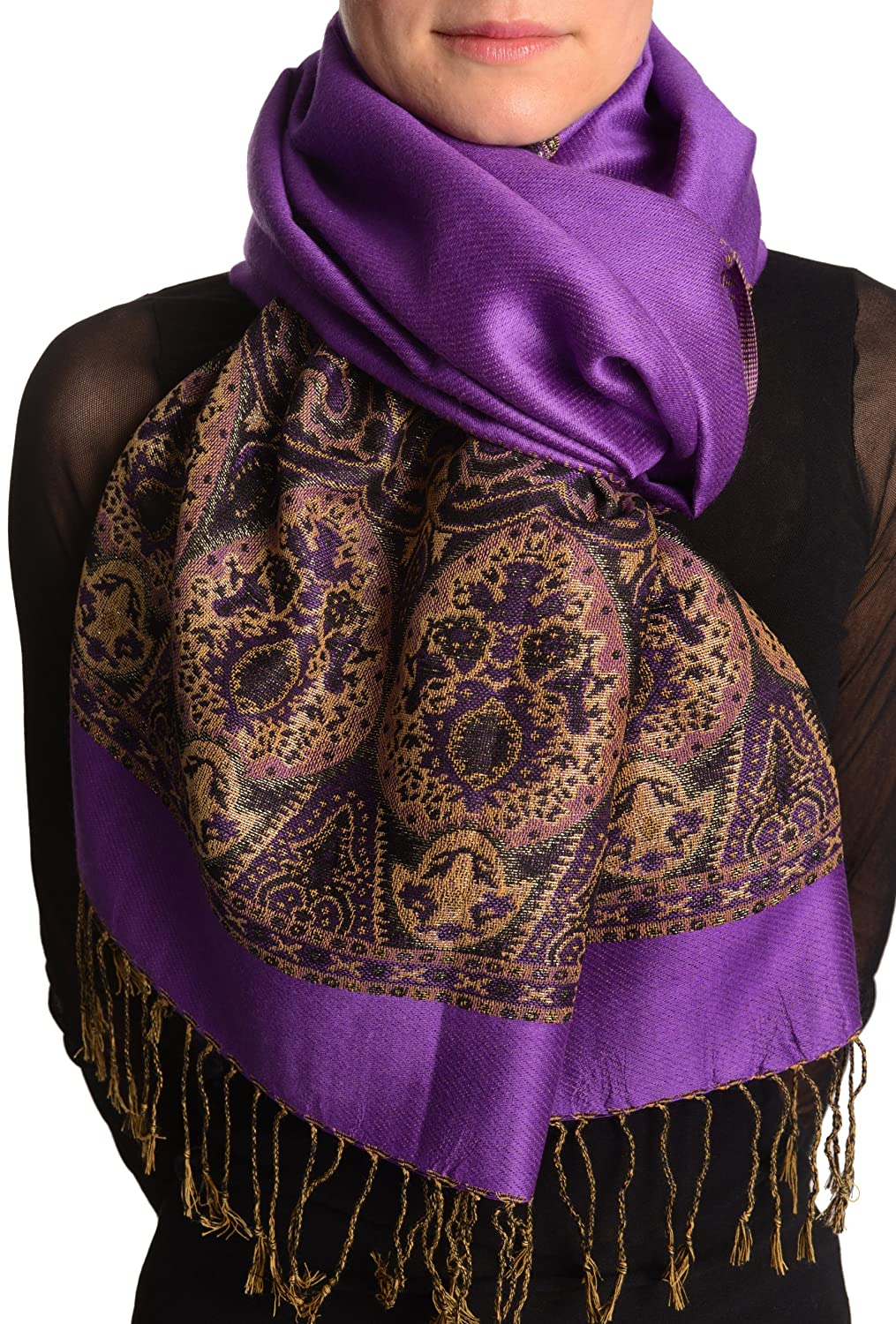 Violet Purple With Lurex Ornaments Pashmina Feel With Tassels - Scarf