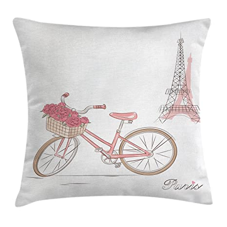 Vintage manta almohada Funda de cojín por Ambesonne, Vintage bicicleta cesta de rosas en París