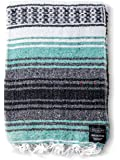 Mexican Blanket Authentic Falsa Thick Soft Woven Acrylic Serape for Yoga or as Beach Throw, Picnic, Camping, Travel, Hiking, Adventure PINK and MINT