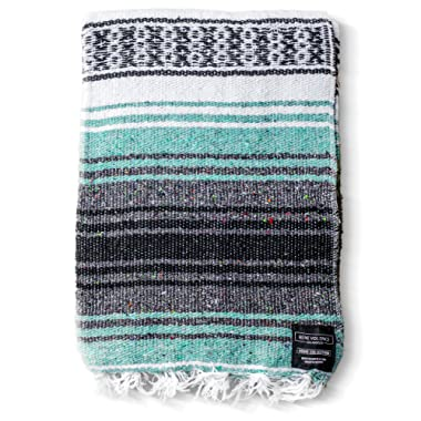 Mexican Blanket Authentic Falsa Thick Soft: Woven Acrylic Yoga Serape or as Beach Throw, Picnic, Camping, Travel, Hiking, Adventure, Pillow, Blankets in Pink, Mint, Sand, Mandarin, Gray, Sky Blue