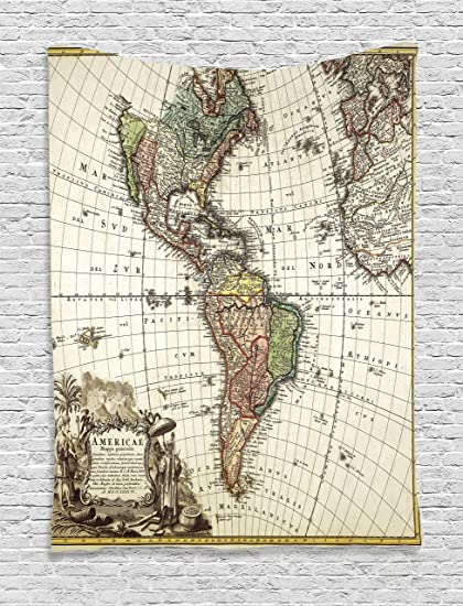 Map Of Europe And South America.Amazon Com Ambesonne Wanderlust Decor Collection Old Map Europe