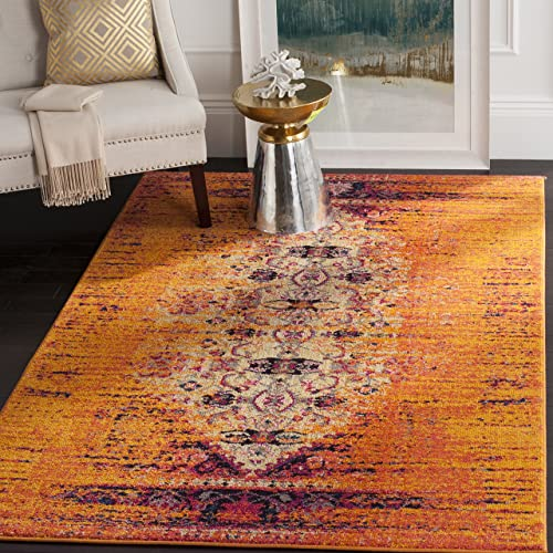 Safavieh Monaco Collection MNC209H Modern Abstract Vibrant Orange and Multi Distressed Area Rug 3 x 5