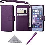 iPhone 6s /6 Case, Wisdompro Premium PU Leather 2-in-1 Protective [Folio Flip Wallet] Case with Credit Card Holder/Slots and Wrist Lanyard for Apple 4.7-inch iPhone 6s /6 (Purple)