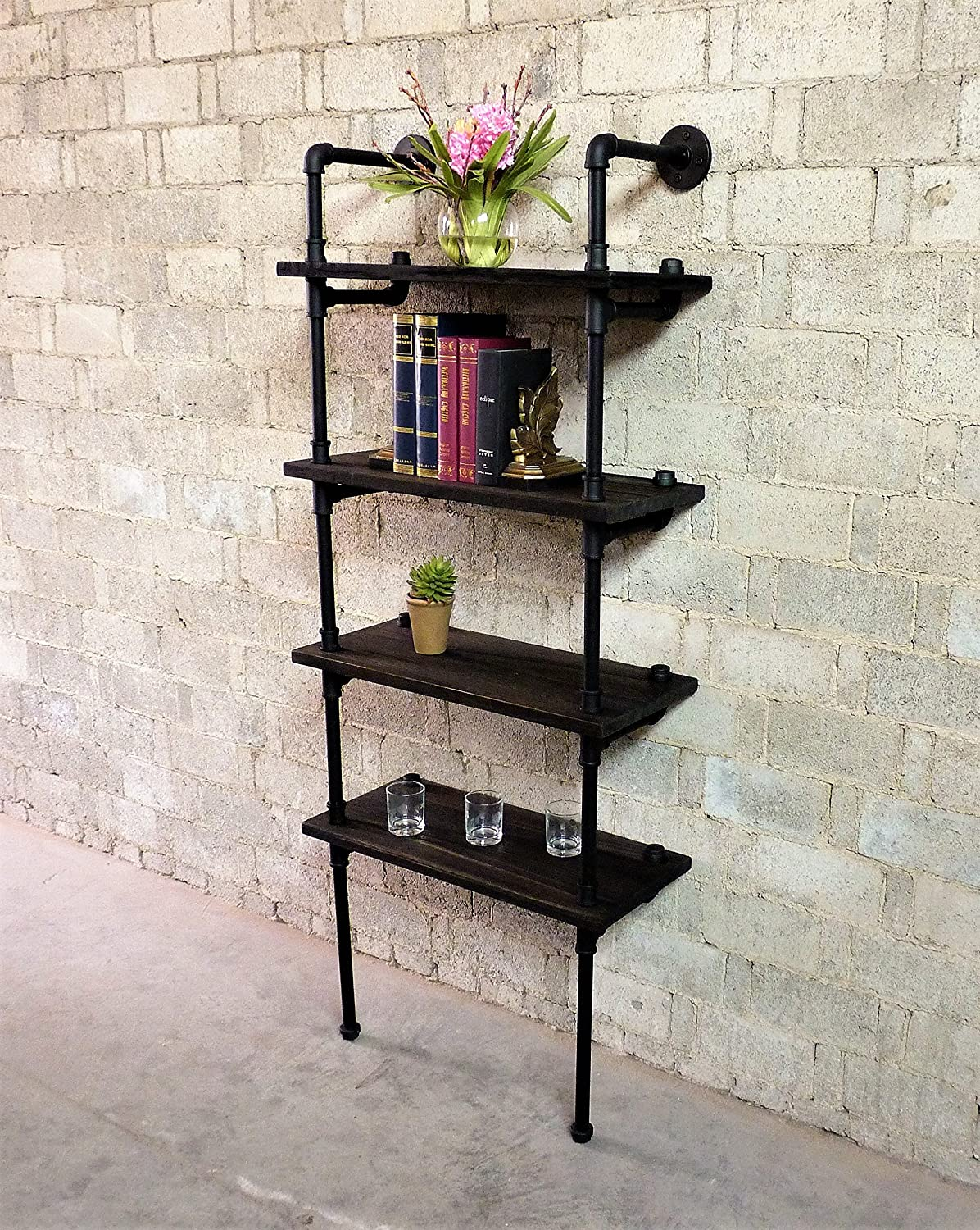 Furniture Pipeline Industrial Tall Wall Mounted 4-Shelf Open Etagere Pipe Bookcase, Metal with Reclaimed Wood Finish