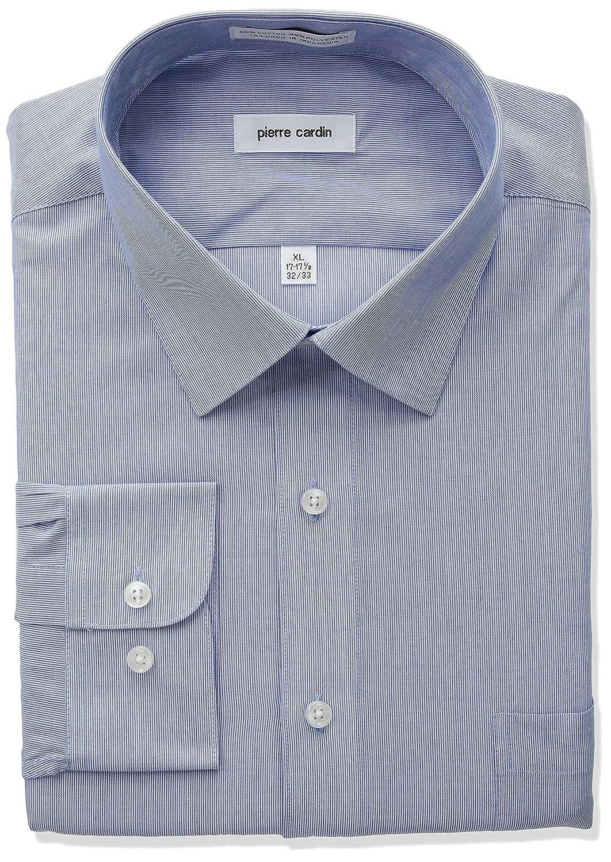 Pierre Cardin Mens Stripe Regular Fit Semi Spread Collar Dress