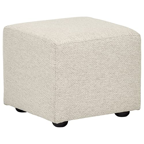 Rivet mid-Century Modern Upholstered Cube Ottoman Pouf, 20 W, Platinum