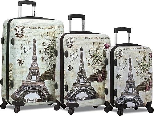 New Dejuno Print Polycarbonate Hard Shell Luggage Set – Paris