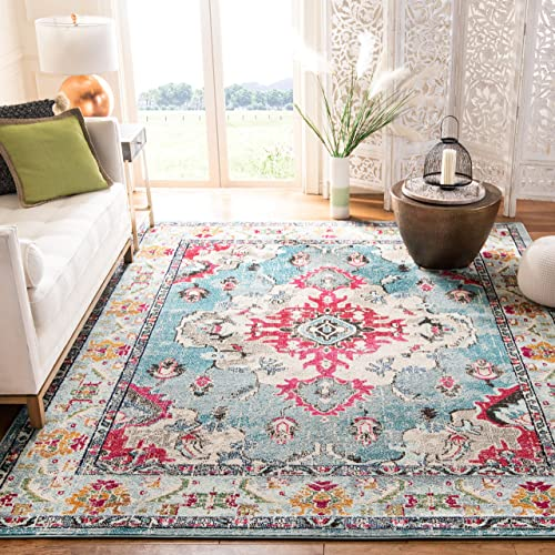 Safavieh Monaco Collection MNC243J Bohemian Chic Medallion Distressed Area Rug