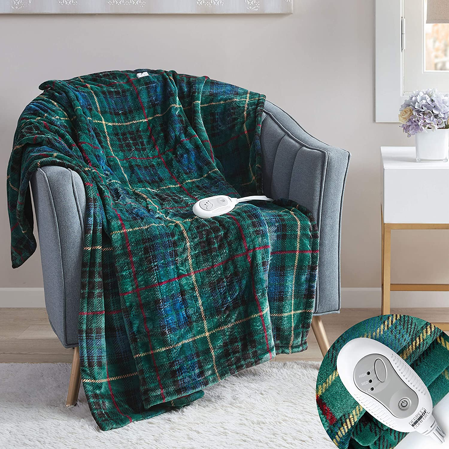 Degrees of Comfort Electric Heated Throw Blanket | Fast Heating, Plush Microlight, UL Certified & Low EMF Radiation – 6ft Cord and 3ft Controller Cable 3 Heat Settings Easy to Wash 50x60 Green Plaid