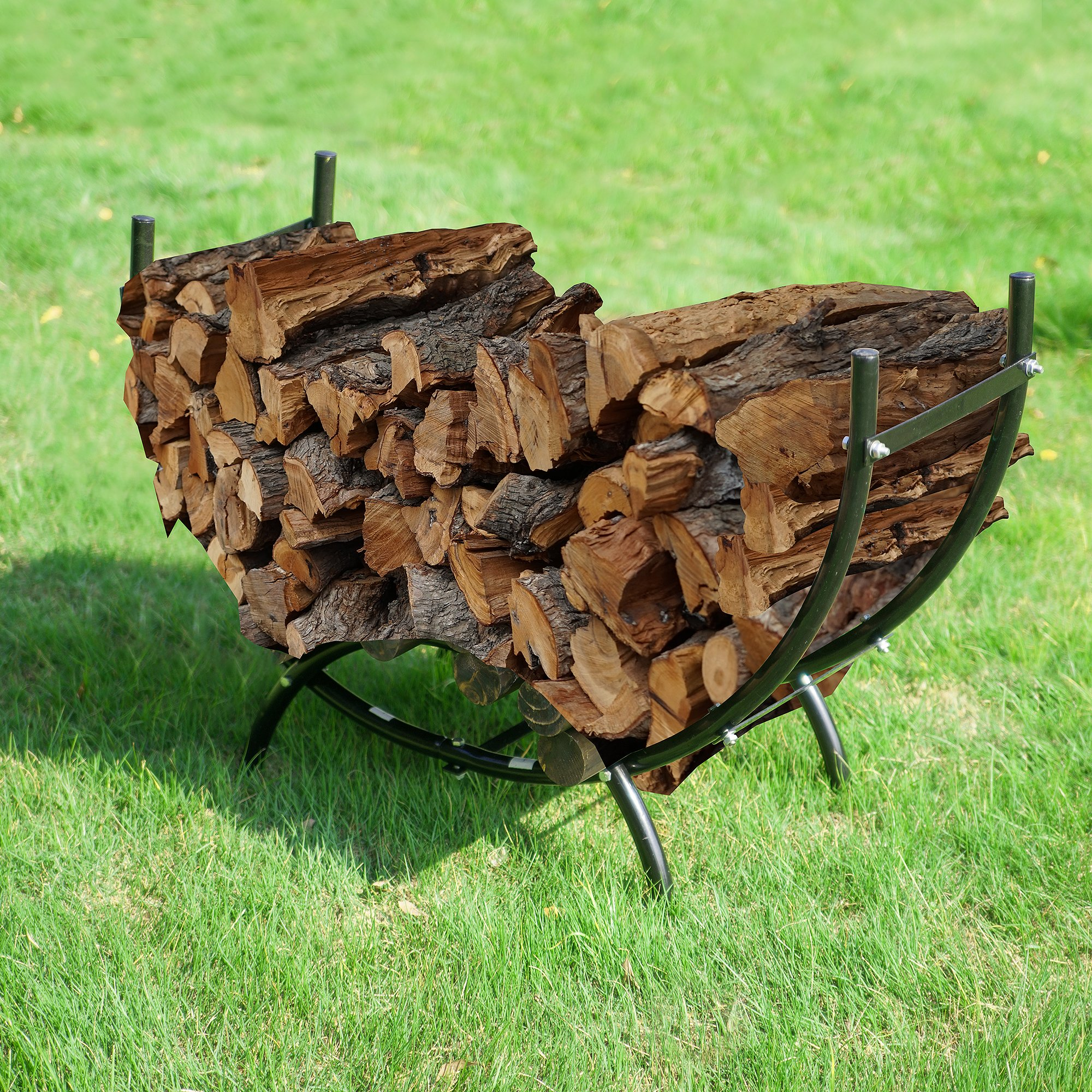 Earth Worth 83-DT5203 Firewood Curved Log Rack | 3 ft | Black by Earth Worth