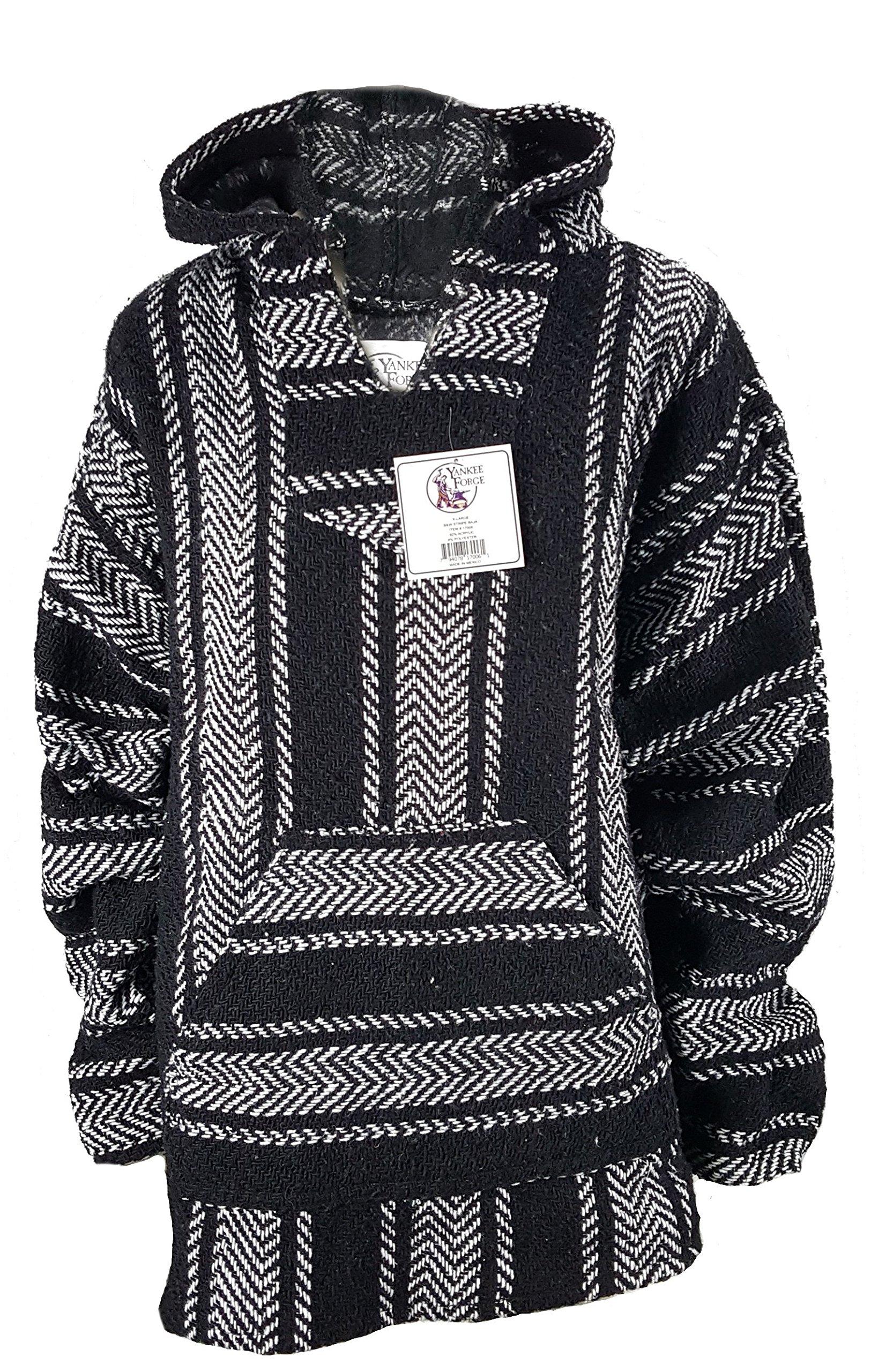 Yankee Forge Medium Baja Shirt - Black & White Stripe - Woven Hoodie - Soft Brushed Inside - Unisex Pullover