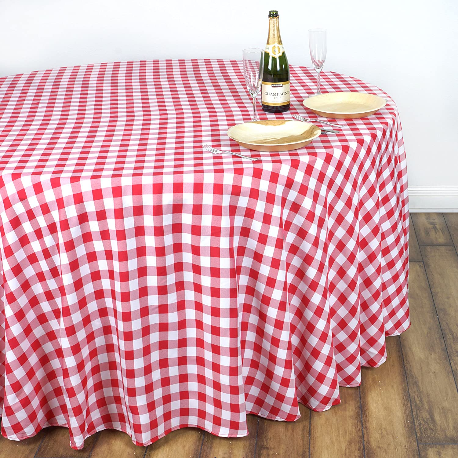 Amazon.com: BalsaCircle 90 Inch Gingham Checkered Polyester Tablecloth    Blue And White: Kitchen U0026 Dining