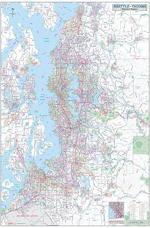 Amazon.com : Greater Seattle-Tacoma Detailed Region Wall Map ...