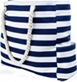 Beach Bag with 100% Waterproof Phone/Tablet Case, Cotton Rope Handles, Top Zipper, Extra Outside Pocket. Blue Stripe Canvas Shoulder Beach Tote has Built-In Keyholder Bottle Opener