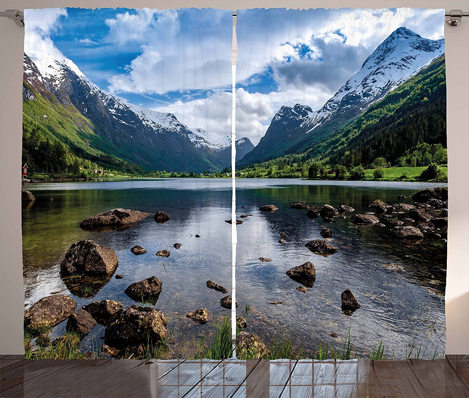 """Ambesonne Nature Curtains, Mountains River and Open Sky Natural Beauties Norway Fjords Nordic Landscape, Living Room Bedroom Window Drapes 2 Panel Set, 108"""" X 63"""", White Green"""