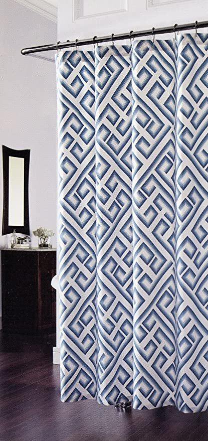 Kronos Geometric Teal On White Luxury Fabric Shower Curtain By Richloom Home Fashions