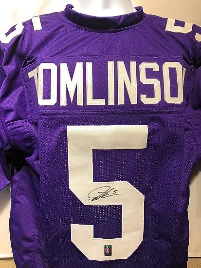 new style 3a49c 22de2 LaDainian Tomlinson TCU Horn Frogs Signed Autograph Purple ...