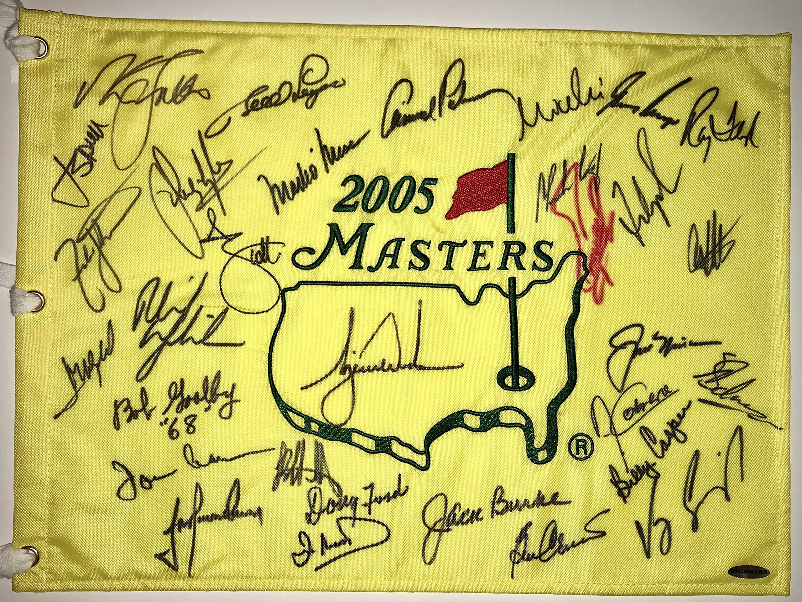 Jordan Spieth Tiger Woods Jack Nicklaus Arnold Palmer signed Masters champions flag augusta national psa dna loa