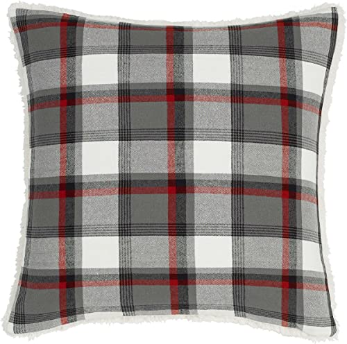 Eddie Bauer Wallace Collection 100 Cotton Classic Plaid Decorative Throw Pillow Sham, Zipper Closure, Easy Care Machine Washable, 20 x 20 , Grey