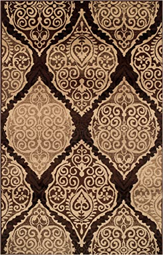 Superior Designer Amherst Collection Area Rug, 10mm Pile Height with Jute Backing, Scrolling Damask Medallion Pattern, Anti-Static, Water-Repellent Rugs – Mocha, 8 x 10 Rug