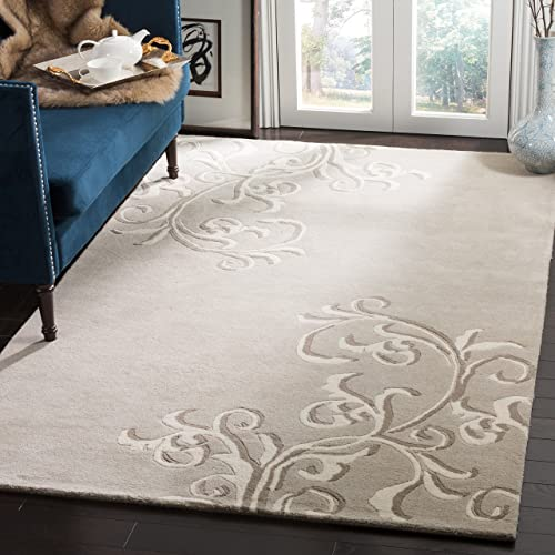 Martha Stewart Safavieh Collection MSR4623B Handmade Premium Wool Soft Grey Area Rug 5 x 8
