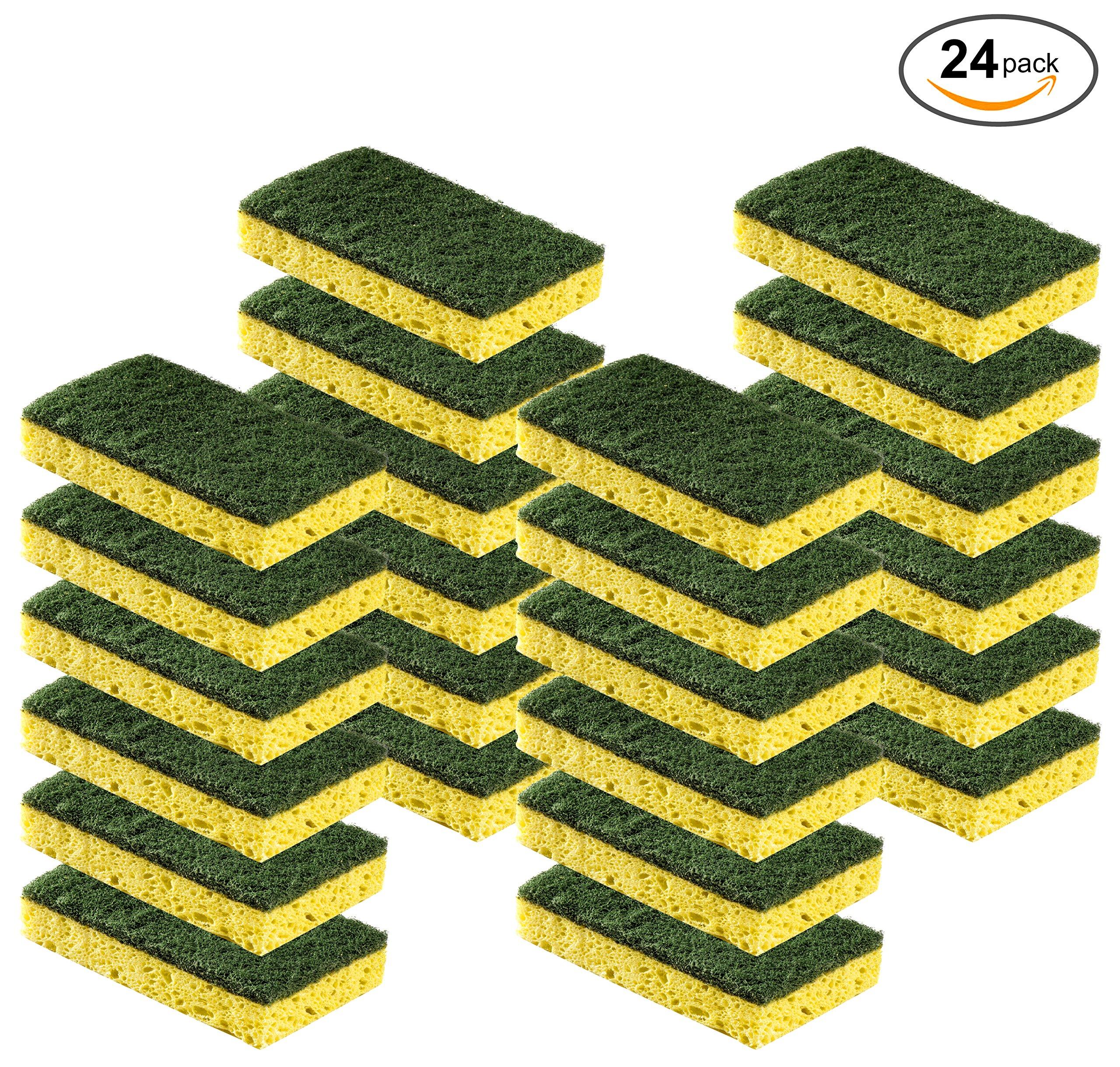 Cleaning Heavy Duty Scrub sponge by Scrub-it – Non-Scratch – Scrubbing Sponges Use for Kitchen, Bathroom & More – Yellow -24 Pack- A1kTBU9O96L