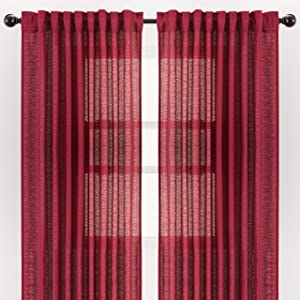 Chanasya 2-Panel Faux Belgian Flax Textured Semi Sheer Curtains - for Windows Living Room Bedroom Patio - Partial See Through Elegant Drapes for Privacy and Home Decor 52 x 84 Inches Long - Maroon