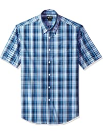 Haggar Men's CVC Tonal Plaid Short Sleeve Shirt