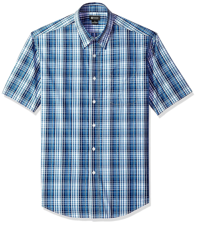 Haggar Men's Cvc Tonal Plaid Short Sleeve Shirt IWM243