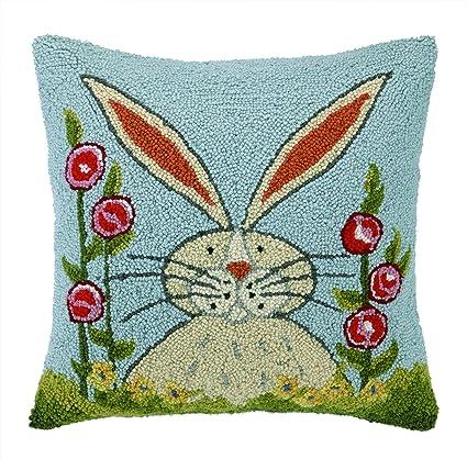 Amazon.com: Peking Handicraft Rabbit in Garden Hook Pillow, 18x18 ...