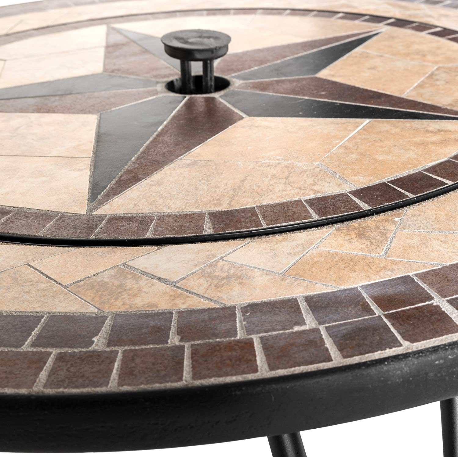 Mari Garden   Vigo 76cm Round Outdoor Garden Mosaic Coffee Table And Fire  Pit With Chrome BBQ Grill, Mesh Lid And Rain Cover Incinerator Log Wood  Burner ...