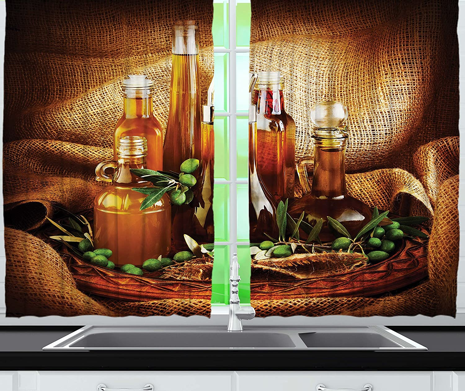Amazon.com: Kitchen Curtains Decor by Ambesonne, Olives Tree ...