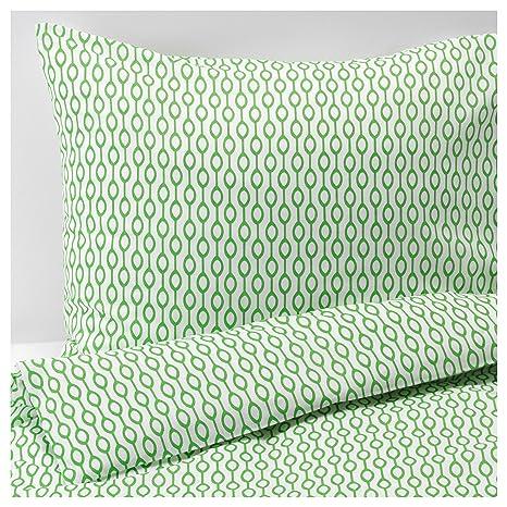 Ikea lenzuola roedved in 3 misure, Misto cotone, verde-bianco, 140 x ...