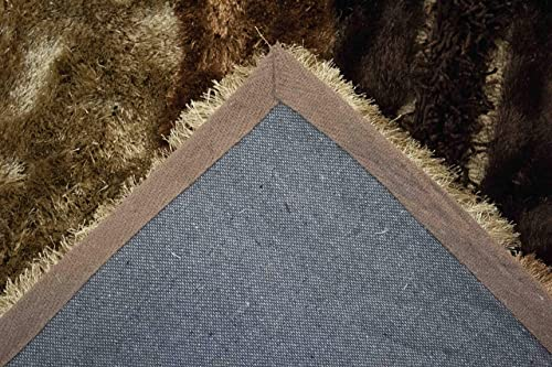 LA Rug Linens Cozy Quality Brown Beige Colors 3D Shag Shaggy Contemporary Modern Living Room and Bedroom Soft Plush Quality Area Rug Carpet Rug 8 Feet x 10 Feet Carved Pattern
