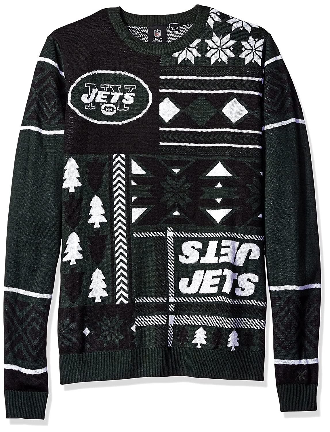 NFL Patches UGLY sweater- Pickチーム L グリーン   B012ELNQC6