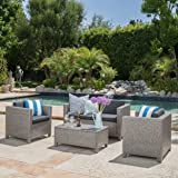 venice outdoor wicker patio furniture 4 piece grey u0026 black sofa seating set w cushions