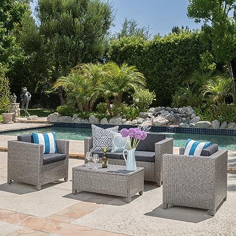 Venice Outdoor Wicker Patio Furniture 4 Piece Grey U0026 Black Sofa Seating Set  W/ Cushions