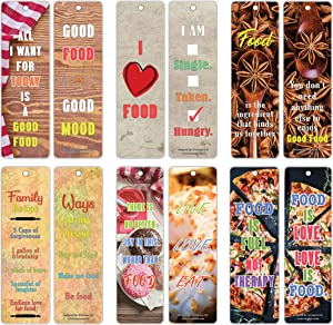 Creanoso Food Lovers Quote Bookmark Cards (30-Pack) – Stocking Stuffers Gifts for Chefs, Men Women Teens – Cool Collection Page Clippers - Premium Quality Card Stock – DIY Kit – Kitchen Supplies