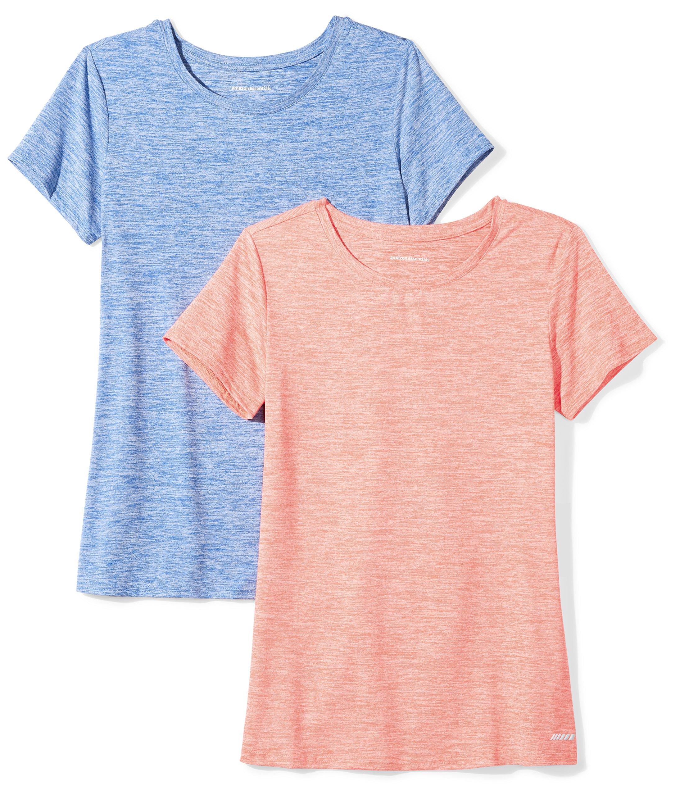 Amazon Essentials Women's 2-Pack Tech Stretch Short-Sleeve Crewneck T-Shirt Shirt, Fiery Coral Heather/Cobalt Heather, Small