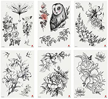 e829fc7b6 Nutrition Bizz Temporary Tattoos for Women Kids Teen Arm Tattoo Fake Tattoo  Lotus Cherry Blossoms Biker