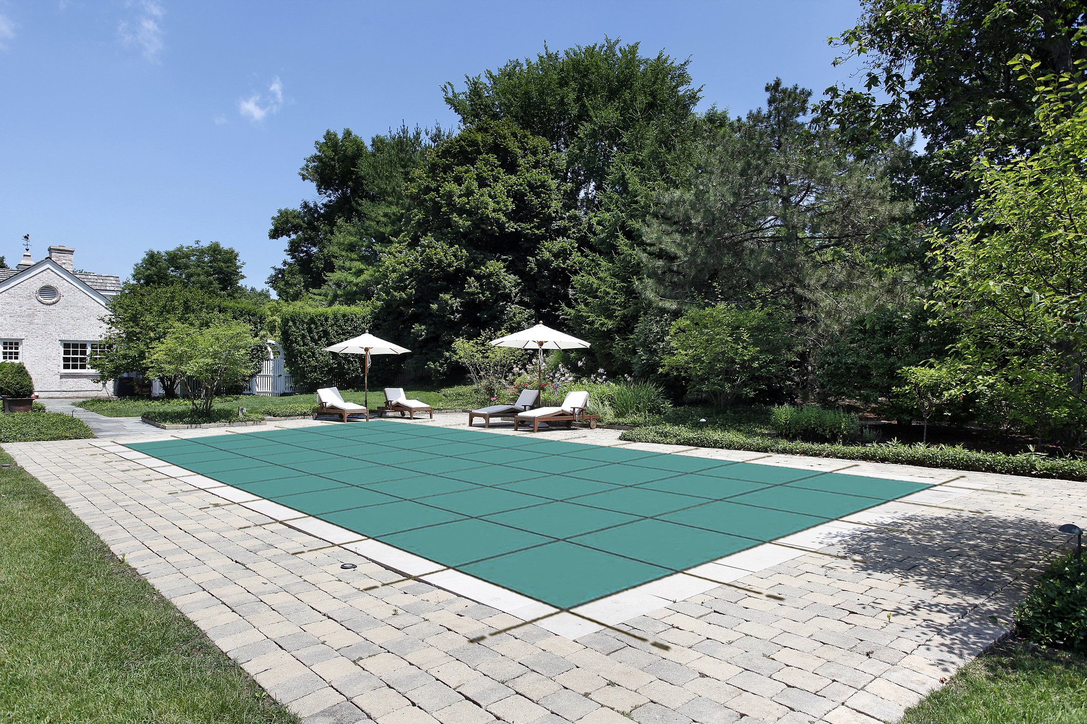 Pool Safety Cover for a 16 x 36 Pool, Green Mesh