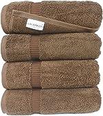 SALBAKOS Luxury Bath Towels - 4-Piece Large Chocolate Bathroom Hotel Towel