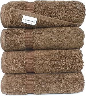 SALBAKOS Luxury Bath Towels - 4-Piece Large Chocolate Bathroom Hotel Towel Set, Softest 700 GSM Genuine Turkish Cotton Eco-Friendly Bath Towel Set, 27x54 Inches