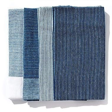 Caldo Kitchen Dish Towel, Set of 4, 100% Cotton, 28 in x 20 in (Navy)