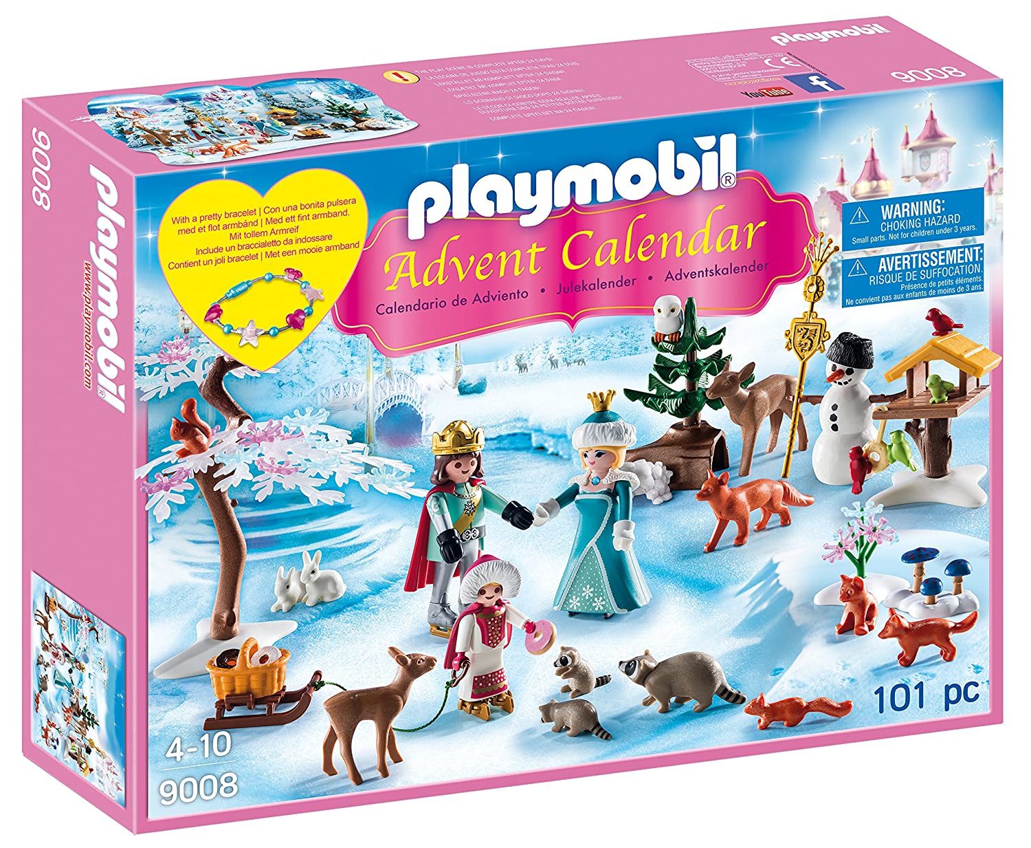 Playmobil Advent Calendar, Royal Ice Skating Trip with a Children's Bracelet 9008