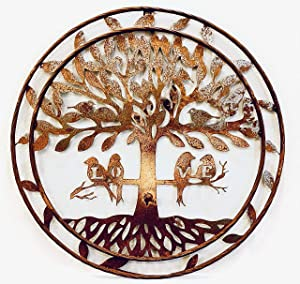 "Rustic Style Metal Circle Tree of Life with Birds 24"" Rustic Wall Decor Art Plaque"