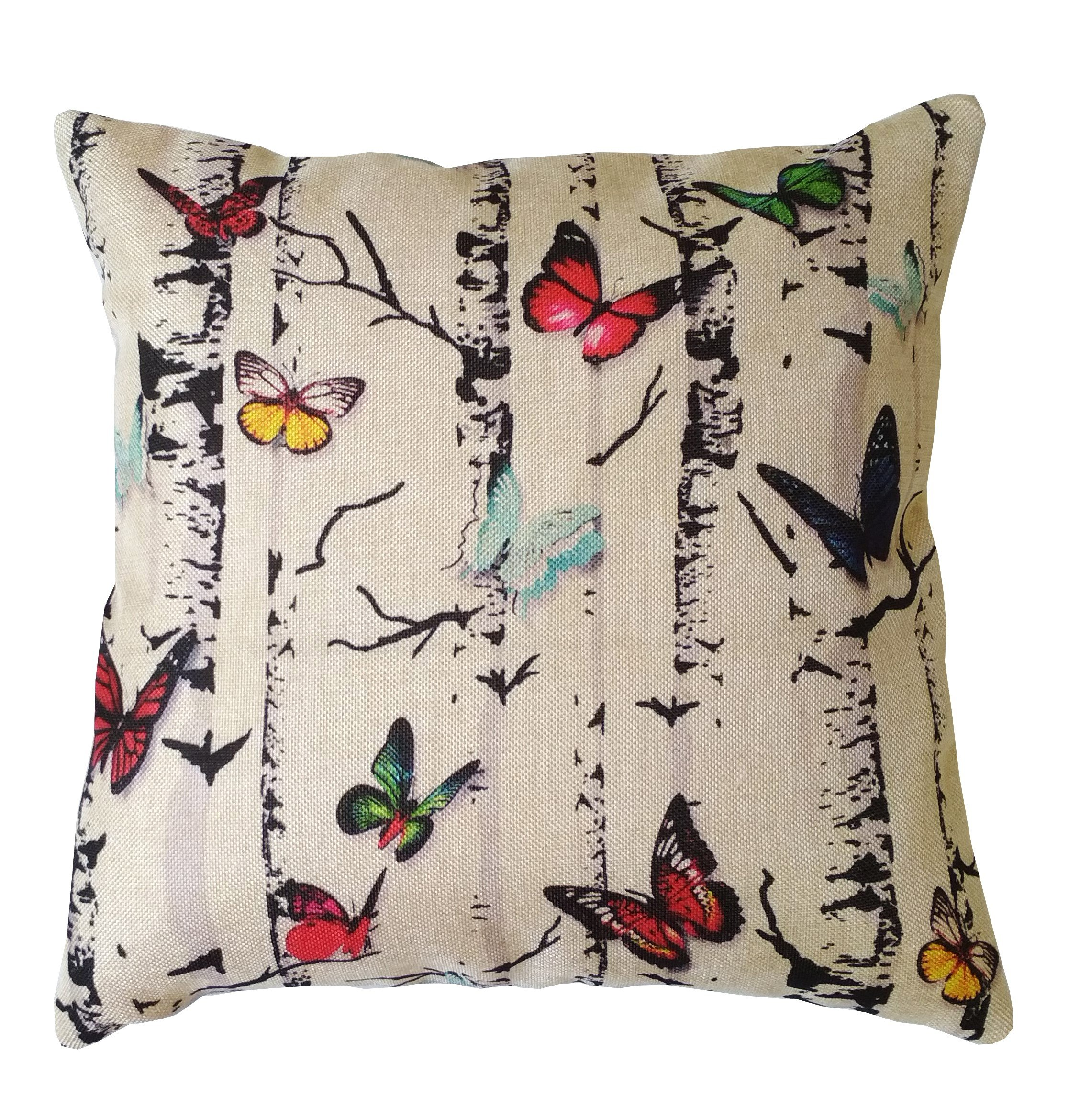 Vantage Decor 16'' x 16'' with Insert Decorative Print Pillow Cover Luxury Square Cushion for Sofa Bedroom Car and Living Room Butterfly Wood Print Gifts for All