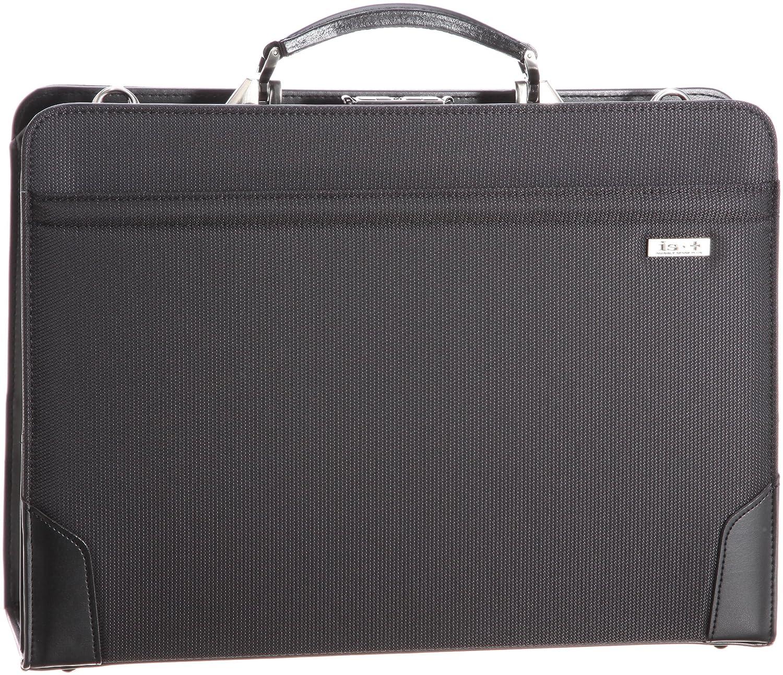 [アイエスプラス] ビジネスバッグ 革手ハンドル42cm口枠ダレス(PC収納可) 日本製 230-01002 B006905J88 ブラック